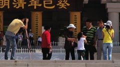 Tourists make group travel photo visiting Qin Shi Huang tomb in Xian, China. Stock Footage