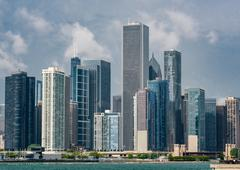 Chicago Skyline from Navy Pier Stock Photos