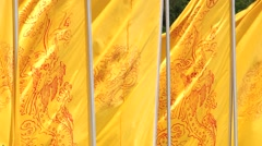 Yellow flags wave at the entrance to the Qin Shi Huang tomb in Xian, China. Stock Footage