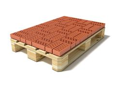 Euro pallet with one row of ceramic bricks. 3D Stock Illustration