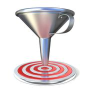 Empty steel funnel and red target Stock Illustration