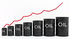 Oil Barrels with Red Line Stock Footage