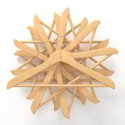 Wooden hangers, star arranged. 3D Stock Illustration