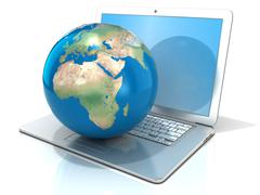 Laptop with illustration of earth globe, Europe and Africa view. 3D Stock Illustration