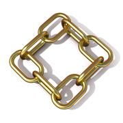 Abstract 3D illustration of a brass chain link Stock Illustration