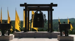 Exterior of the old metal bell at the Qin Shi Huang tomb in Xian, China. Stock Footage