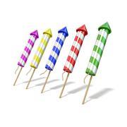 Colorful fireworks rockets. 3D Stock Illustration