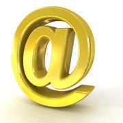 E-mail sign, at symbol, 3D golden Piirros