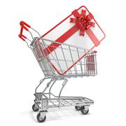 Gift card with blank space for text and shopping cart. 3D Stock Illustration