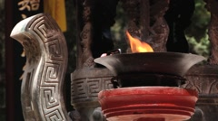 Incense burn in the temple next to Qin Shi Huang tomb in Xian, China. Stock Footage