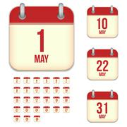 May tear-off calendar isolated vector icons set Stock Illustration
