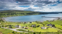 Coastal Village of Uig in the Isle of Skye Stock Footage