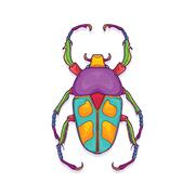 Colorful Beetle Bug Insect, Jumnos ruckeri Stock Illustration