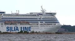 """Large sea ferry """"Silja Line"""" leaves the port of Helsinki. Stock Footage"""