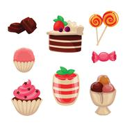 Set of sweets, cakes, cupcakes, candy, chocolate and ice cream Stock Illustration