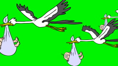 STORKS BRINGS BABY,Storks bringing baby.2D animation. Stock Footage