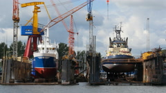 Two boats in dry dock Stock Footage