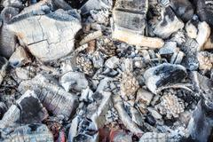 Closeup of decaying wood coals and ash in brazier Stock Photos