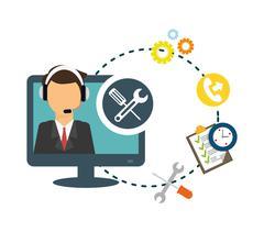 customer service technical service icon set - stock illustration