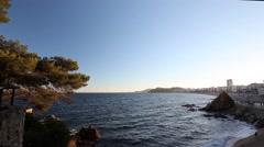 Lloret de mar sea views Spain Stock Footage