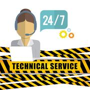 Customer service technical service icon set Stock Illustration