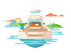 Yacht flat design Stock Illustration
