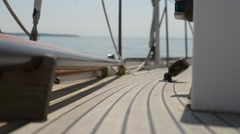 Deck of a Sailboat Stock Footage