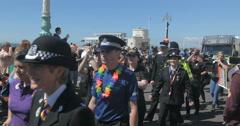 Brighton police parade at gay pride Stock Footage