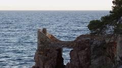 Lloret de mar sea and castle rocky stones into the sea.  Stock Footage