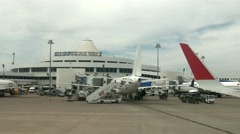 Aircrafts near terminal in the Airport Stock Footage