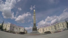 Victory Square in Big City with Road Traffic on Intersection. Timelapse. Stock Footage