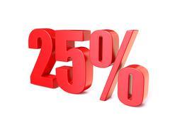 Red percentage sign 25. 3D Stock Illustration