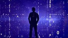 Silhouette of man on matrix effect background. Stock Photos