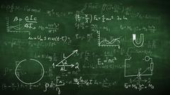 2D illustration of physical formulas, tasks, plots on a chalkboard. Stock Illustration