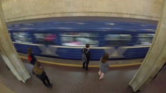 Underground Station with Commuting Passengers. Timelapse. Stock Footage