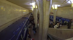 Passengers Travelling in City Underground or Subway. Timelapse. Stock Footage