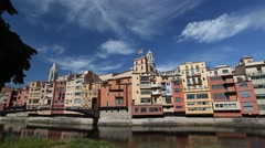 Girona and river in Spain Stock Footage