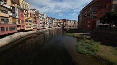 The river in Girona Stock Footage