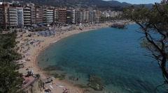 Lloret de mar sea and beach Stock Footage