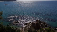 Lloret de mar sea and ship Stock Footage
