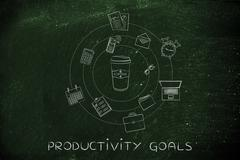 Coffee tumbler and office objects, caffein & productivity Stock Illustration
