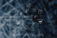 Career progress bar & office objects, efficiency concept Piirros