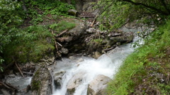 Hiking through the Wolfsklamm gorge on stairs. European Alps. Part of Karvend Stock Footage