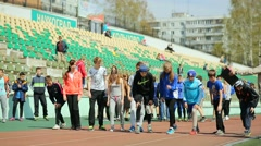 Russia, Novosibirsk, 2015: Lesson of physical education at school Stock Footage