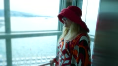 Romantic cute lady happy female tourist in beach-lift elevator Stock Footage