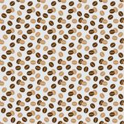 seamless pattern - beige and brown coffee beans - stock illustration