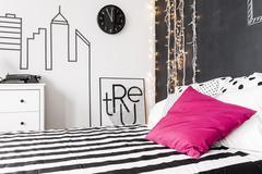 Pink decor in bedroom Stock Photos