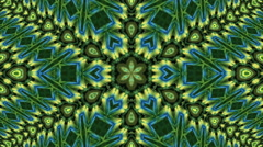 Amazing abstract kaleidoscopic detailed green and blue pattern Stock Footage