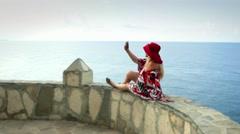 Cute caucasian woman european romantic female tourist resting near sea Stock Footage