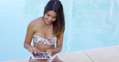 Happy excited young woman surfing the web Stock Footage